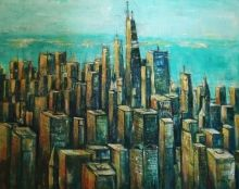 Downtown Chicago, Paintings, Abstract,Expressionism,Impressionism, Cityscape, Acrylic,Canvas, By David Iddon