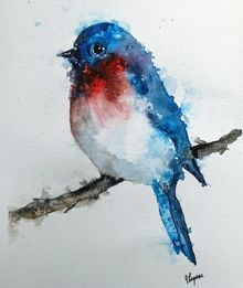 Eastern Blue Bird, Paintings, Fine Art, Animals, Watercolor, By james lagasse