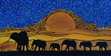 elephants, Paintings, Abstract, Expressionism, Fine Art, Surrealism, Animals, Celestial / Space, Landscape, Acrylic, By Rachel Olynuk