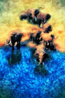 Elephants, Digital Art / Computer Art,Paintings, Impressionism, People, Acrylic,Digital, By ROY DOUGLAS