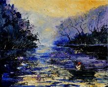 Fishing, Paintings, Expressionism, Landscape, Canvas, By Pol Ledent