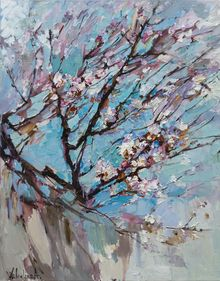 Flowering apricot tree Original oil painting, Paintings, Impressionism, Floral, Canvas,Oil, By Anastasiya Valiulina