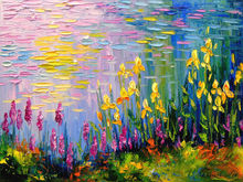 Flowers at the pond, Paintings, Impressionism, Botanical, Floral, Landscape, Nature, Canvas, Oil, Painting, By Olha   Darchuk