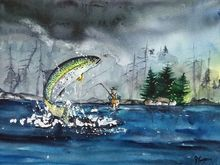 Fly Fishing, Paintings, Fine Art, Landscape, Painting, By james lagasse