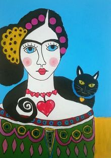 Frida and Her Cat, Folk Art,Paintings, Existentialism,Expressionism, Animals,Fantasy,Mythical,People, Acrylic, By James Kennedy