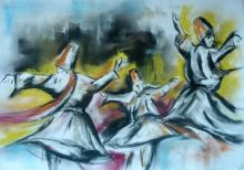 Give us a twirl, Chalk,Drawings / Sketch,Pastel, Abstract,Expressionism,Fine Art,Impressionism, Dance,Figurative,People,Performance Art, Charcoal,Pastel, By David Iddon