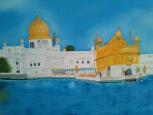 Golden Temple, Paintings, Realism, Religious, Canvas,Oil, By supreet gujral