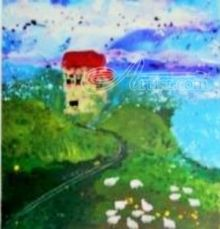 House on the hill, Paintings, Surrealism, Landscape, Acrylic, By Joe Spinella