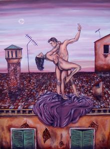 IL BALLO, Paintings, Fine Art,Surrealism, Cityscape,Composition,Nudes, Acrylic,Canvas, By Corinne Tomas