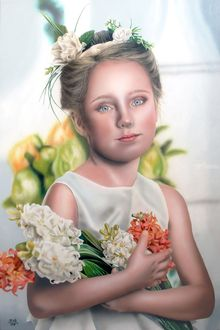 In the name of the flower, Paintings, Fine Art,Modernism,Photorealism,Realism, Botanical,Children,Decorative,Figurative,People,Portrait, Oil, By Ivan Pili