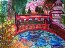 Japanese Garden: Inspired by San Francisco's Japanese Garden: Number 2 Version., Paintings, Fine Art,Impressionism, Botanical,Landscape,Nature, Clay,Ink,Mixed,Oil,Painting,Pencil,Watercolor, By Catherine Bayani