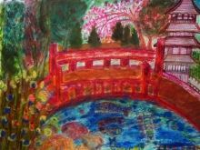 Japanese Garden: San Francisco Derived. Original Version., Paintings, Impressionism, Landscape,Nature,Still Life, Canvas,Clay,Ink,Mixed,Oil,Painting,Pencil,Watercolor, By Catherine Bayani