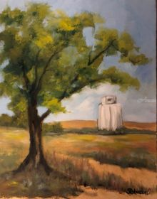 Kansas Elevator, Paintings, Realism, Landscape, Oil, By Sherry Robinson