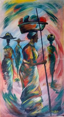 keepers of home, Paintings, Impressionism, Inspirational, Acrylic,Canvas, By Ernest Budu