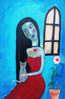 Lady and her Cat, Paintings, Existentialism,Expressionism, Animals,Fantasy,People, Acrylic,Mixed, By James Kennedy