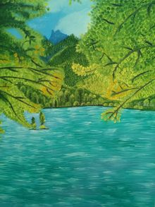 lake scene, Paintings, Realism, Landscape, Canvas,Oil, By supreet gujral