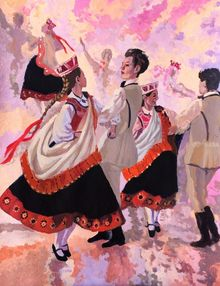 Latvian Dance(acrylic on paper), Paintings, Fine Art, Music, Acrylic, By Victoria Trok