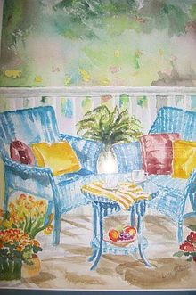 Lawn Chairs, Paintings, Expressionism, Landscape, Watercolor, By Lora Roberts