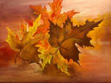 Leaves of the fall, Paintings, Fine Art, Botanical, Canvas, By Lubov Pavluk