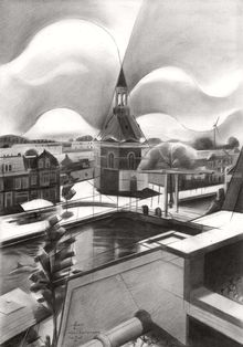 Leidschendam – 01-09-18 (sold), Drawings / Sketch, Abstract, Cubism, Fine Art, Futurism, Impressionism, Realism, Surrealism, Cityscape, Figurative, Inspirational, Pencil, By Corne Akkers