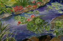 Lily Pond, Paintings, Expressionism, Botanical, Watercolor, By Lora Roberts