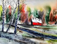 Living Alone, Paintings, Fine Art, Landscape, Watercolor, By james lagasse