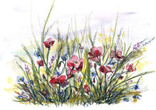 Longing for summer, Paintings, Abstract, Impressionism, Floral, Watercolor, By Aniko Hencz