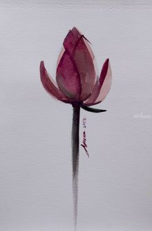Lotus Flower watercolor painting on paper, Paintings, Fine Art,Realism, Floral,Handwriting,Still Life, Painting, By Arissara Kruewan