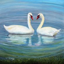 Loving Swan, Paintings, Impressionism, Animals, Painting, By Alicia Maury