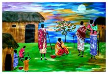 Maasai Village, Paintings, Fine Art, Multicultural / Ethnic, Acrylic, By Smita Biswas