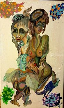 Manifolds, Paintings, Surrealism, Grotesque, Acrylic,Canvas,Ink,Oil,Pastel,Stone, By Eka Rukhadze