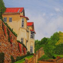 Mansion in Nainital, Paintings, Expressionism,Photorealism,Realism, Landscape, Canvas, By Ajay Harit