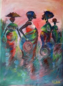 market palaver, Paintings, Impressionism, Inspirational, Acrylic,Canvas, By Ernest Budu