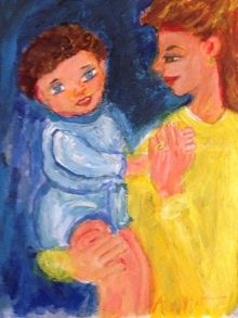 Mother And Child, Paintings, Realism, Daily Life, Acrylic, By Anna Angelou