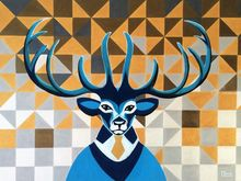 Mr. Deer, Paintings, Abstract, Animals, Acrylic, By Lucyanne Terni
