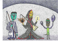Mrs. Death should be valued, a completely crazy story - but true - outsider drawing of poor amateur, Drawings / Sketch, Fine Art, Modernism, Primitive, Satire, Art Brut, Avant-Garde, Fantasy, Humor, Mythical, Mixed, By Kost Koža outsider art and stories