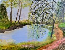 My Willow Tree Garden, Land Art,Paintings, Fine Art,Realism, Botanical,Landscape, Canvas,Oil,Painting, By Lana Fultz