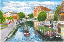 Nottingham Canal View from Carrington Bridge, Paintings, Realism, Cityscape, Watercolor, By Michelle Archer