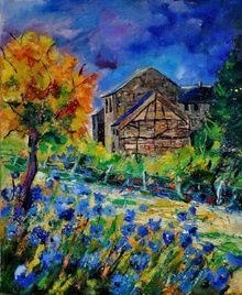 Old houses and blue flowers, Paintings, Impressionism, Landscape, Canvas, By Pol Ledent