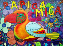 Parrot Mica tells you, a fantastic, true story with a modern image, amateur art, Decorative Arts, Folk Art, Illustration, Paintings, Fine Art, Primitive, Satire, Animals, Art Brut, Avant-Garde, Fantasy, Humor, Acrylic, Mixed, By Kost Koža outsider art and stories