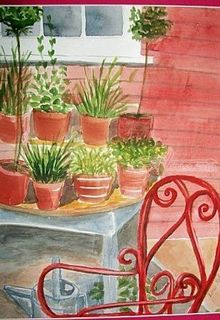 Plants and Red Chair, Paintings, Realism, Botanical, Watercolor, By Lora Roberts