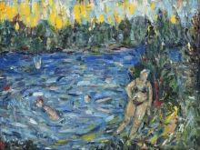 Pond with blue water, Paintings, Expressionism,Fine Art,Impressionism, Daily Life,Landscape,Moving Images,Nature, Canvas,Oil, By Kate Mikhatova