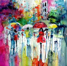 Rain, colours, people..., Paintings, Impressionism, People, Watercolor, By Kovacs Anna Brigitta