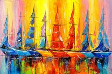 Rainbow boats, Paintings, Impressionism, Landscape,Nature, Canvas,Oil,Painting, By Olha   Darchuk