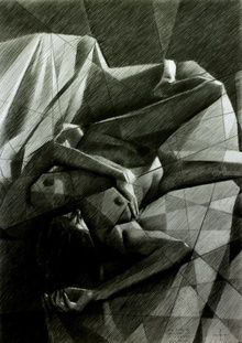 Reclining nude - 16-11-14, Drawings / Sketch, Abstract,Cubism,Fine Art,Impressionism,Realism,Surrealism, Anatomy,Composition,Erotic,Figurative,Inspirational,Nudes,People, Pencil, By Corne Akkers