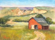 Red Barn, Paintings, Realism, Landscape, Oil, By Sherry Robinson