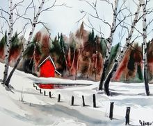 Red Cabin, Paintings, Fine Art, Landscape, Watercolor, By james lagasse