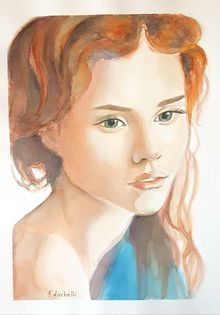 Red hair girl, Paintings, Fine Art,Photorealism,Realism, Figurative,People,Portrait, Watercolor, By Francesca Licchelli