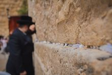 Religious orthodox jew praying at the Western Wall in the old city of Jerusalem Israel, Photography, Photorealism, Street Art, People, Religious, Spiritual, Photography: Metal Print, Photography: Photographic Print, Photography: Premium Print, Photography: Stretched Canvas Print, By Maor Winetrob