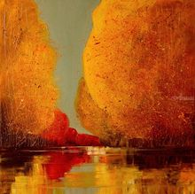 River, Paintings, Impressionism, Inspirational, Landscape, Canvas, Oil, By Justyna Kopania
